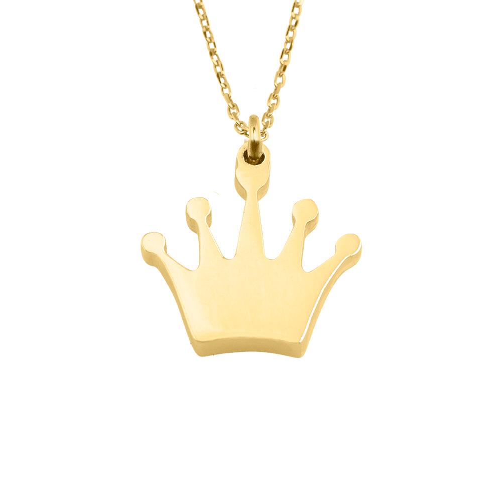 girls necklace silver wid crown product sterling